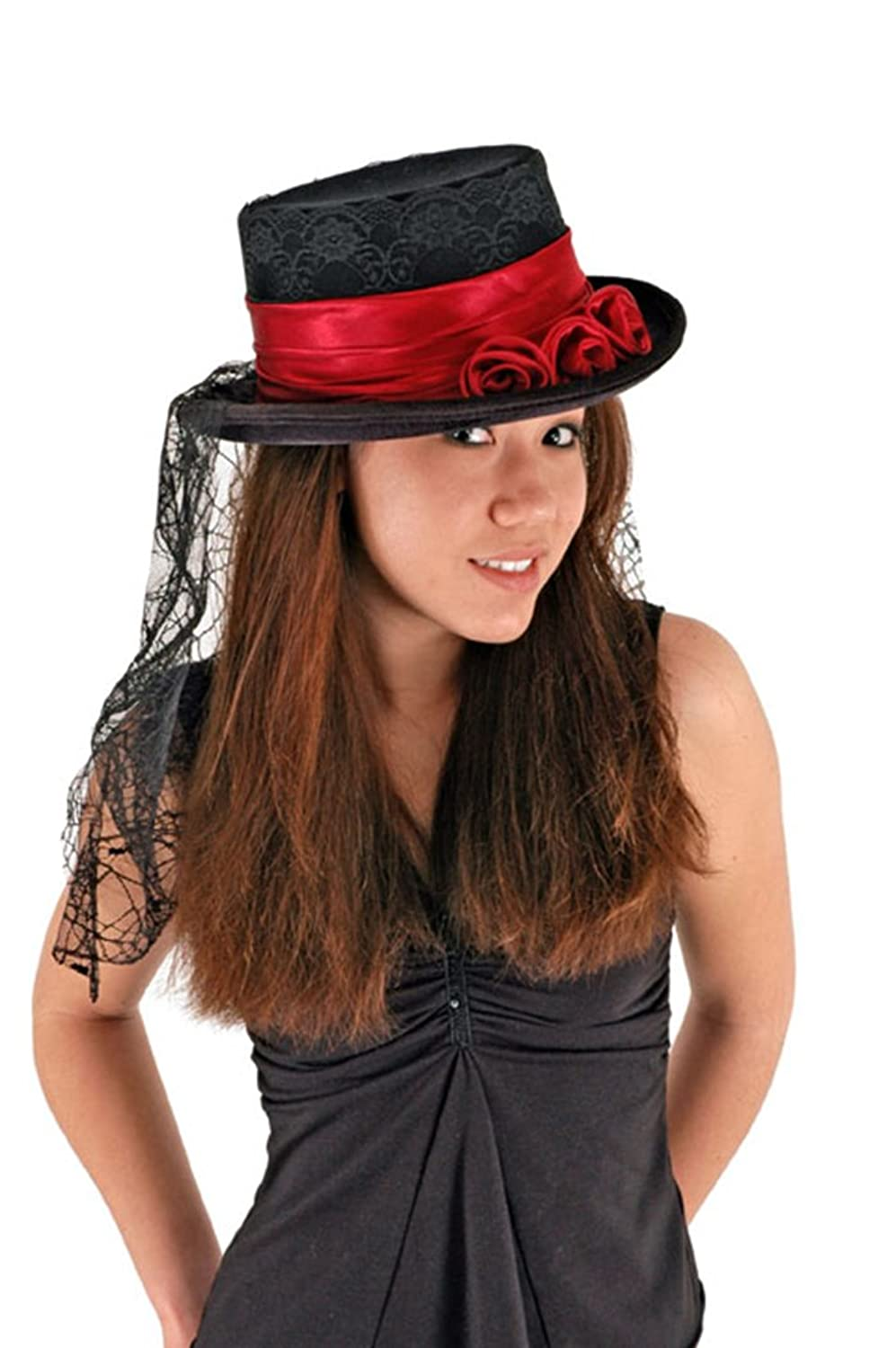 Elope Gothic Rose Top Hat - Black and Red with Scarf