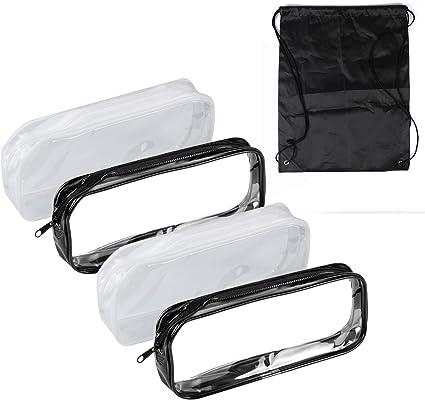 Gydandir - Estuche para lápices (4 piezas, plástico PVC transparente, con cremallera, gran capacidad, bolsa de maquillaje con 1 bolsa negra para estudiantes, papelería): Amazon.es: Oficina y papelería
