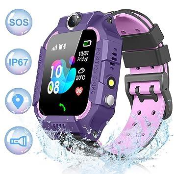 NAIXUES 2019 Smartwatch Niños, Reloj Inteligente para Niños IP67 Impermeable con Linterna, SOS, LBS, Comunicación Bidireccional, Cámara, Mensajes de ...
