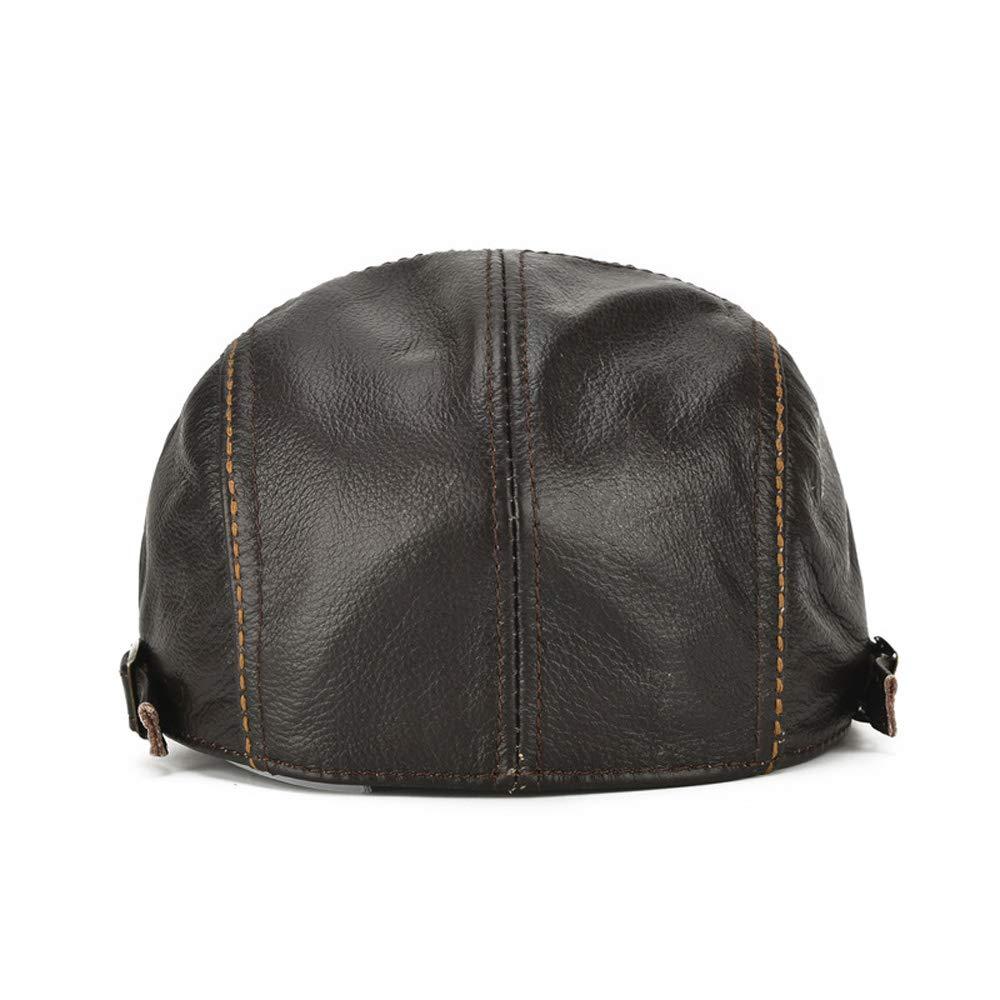 Guizhoujiufu Mens Cap Leather Hat Suede Mens Leather Cap Front Hat Autumn Winter Baseball Cap