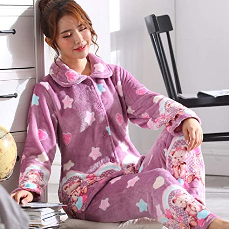 pijamas mujer invierno polar,Pijama de terciopelo coral para ...