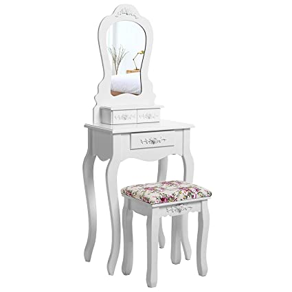 Amazon Com Compact Dressing Table Set With Stool And Mirror Makeup