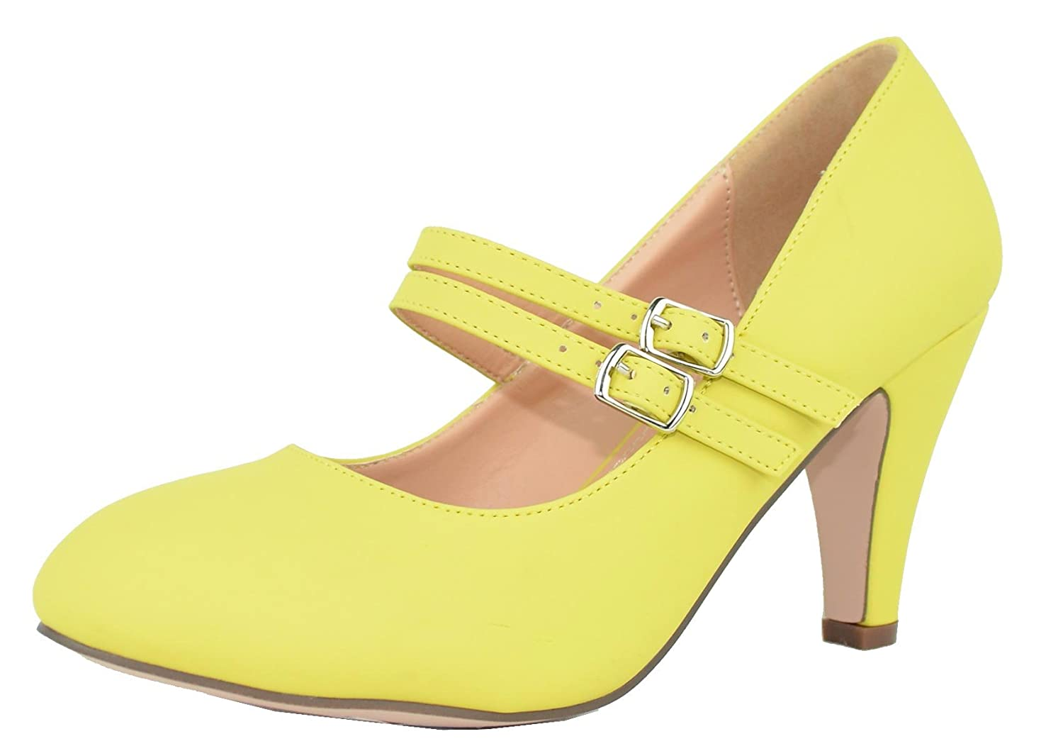 Chase & Chloe Kimmy-61 Women's Mary Jane Double Strap Buckle Pump B073WLQP23 7.5 B(M) US|Yellow