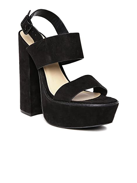 288f1a5ceff FOREVER 21 Black Block Heels (8UK)  Buy Online at Low Prices in ...