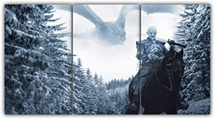 Game Of Thrones white walkers Dragon 5 Piece Canvas Home Decor Wall Art Decor