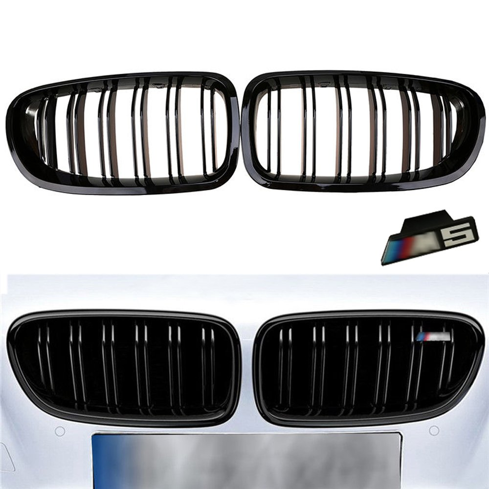 YUK 2010-2014 For BMW Sedan F10 F11 M5 Gloss Black Front Kidney Twin FIns Grille 5 Series 520i 535i 550i Come with M5 Emblem (1 set)