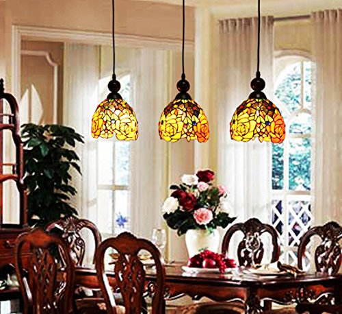 Makenier Vintage Tiffany Style Stained Glass 3-light Rose Flower Lampshade Dining Room Bar Pendant Lamp, 7 Inches Lampshade Stained Glass Three Light