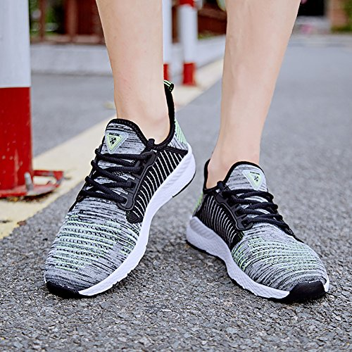 Women's up Men's Lover Town Athletic Shoes Flat Lace Sneakers Green Flyknit Grey No Running 66 wYAEEF