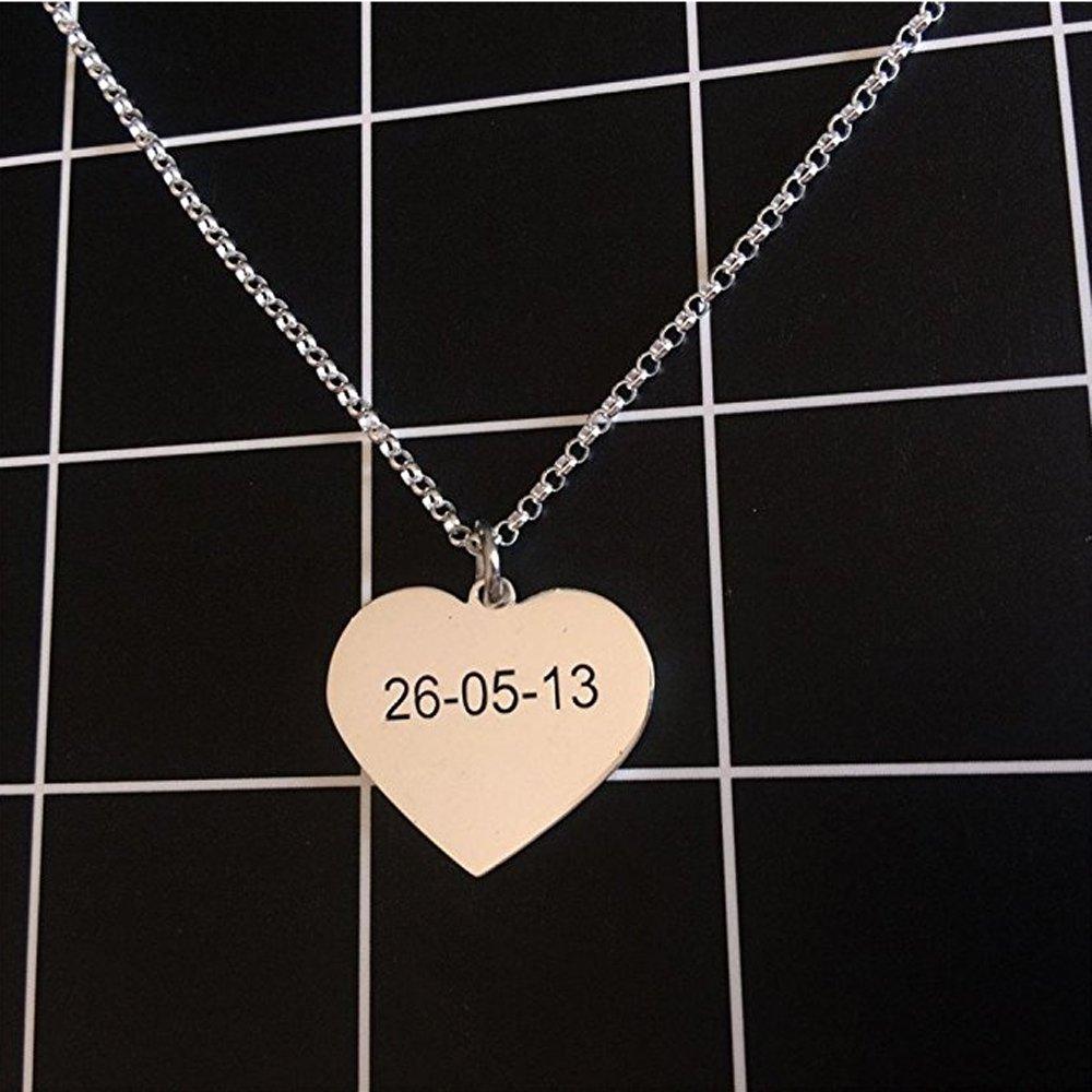 2ac644e351a8 JF Colgante de Corazón Personalizado ACK Collar de Plata esterlina Grabado  para Familiares