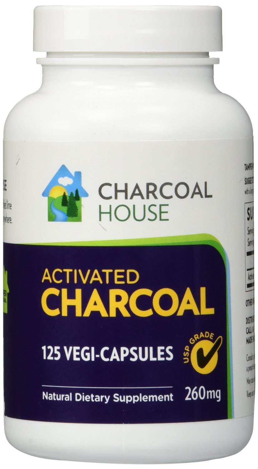 4 bottles 125each Activated Charcoal Capsules USP - Vegetarian Caps, Natural, easy carry, acid reflux, teeth whitening (4)