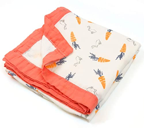 Unisex Gauze Soft Baby Blanket, 70% Bamboo 30% Cotton, Bath Towels to Newborn Toddler, Size 43X45inchs (Carrot Rabbit)