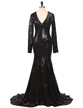 Amazon.com: CIRCLEWLD Sequins Mermaid Evening Gowns Long Sleeves ...