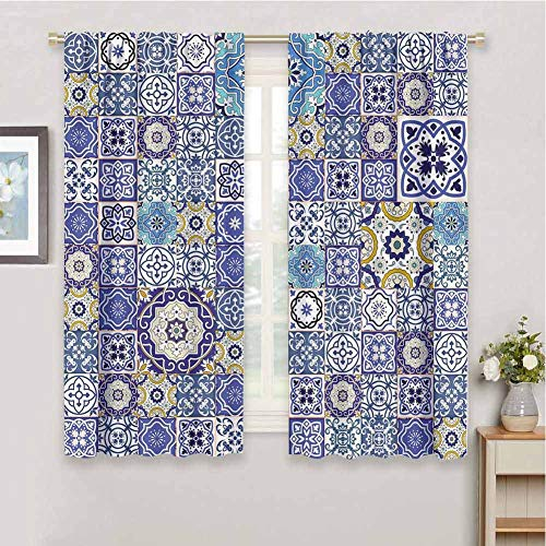 Blue for Bedroom Blackout Curtains Rich Collection of Ancient Moroccan Tiles Patchwork Style Pattern Oriental Arabesque Blackout Curtains for The Living Room W54 x L72 Inch Multicolor (Barton Arbor Collection)
