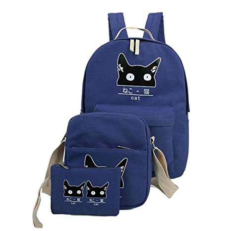 Image Unavailable. Image not available for. Color  XIATUALEE Women Backpack  Printing Canvas School Bags Teenager Girls 3 Set PC Rucksack Cute Book 31efcf1207d32