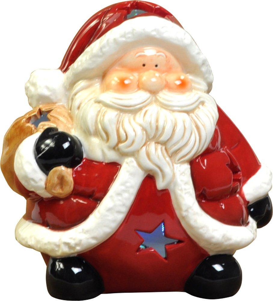 あまの クリスマス飾り LED 陶器マスコット サンタ M QZL-8021