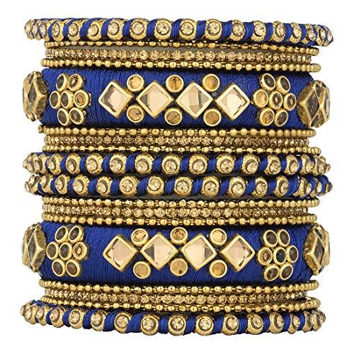 Aheli Ethnic Handmade Silk Thread Stone Studded Matching Bangle Set Chuda Indian Wedding Wear Fashion Jewelry for Women (Blue)]()