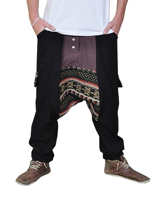 virblatt Pantalones cagados Jersey Largo en 2 Colores con una Entrepierna Baja como Ropa Hippie y Pantalones Bombachos para Trotar M - Innovativ