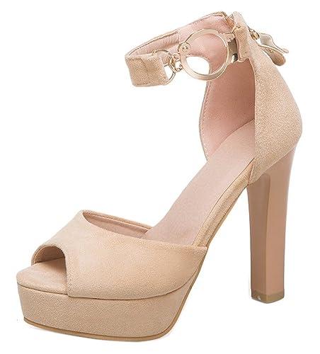 Easemax Femme Mode Métallique Fermeture Eclair Talon Bloc Sandales   Amazon.fr  Chaussures et Sacs 215b940fe873