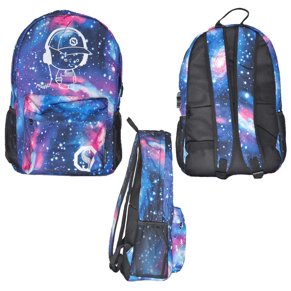 Luminous Backpack with USB Charging Port and Anti-Theft Lock & Pencil Case, Sky Anime Cartoon Unisex Casual School Daypack Bookbag Travel Laptop Backpack by ZWWZ (Image #8)