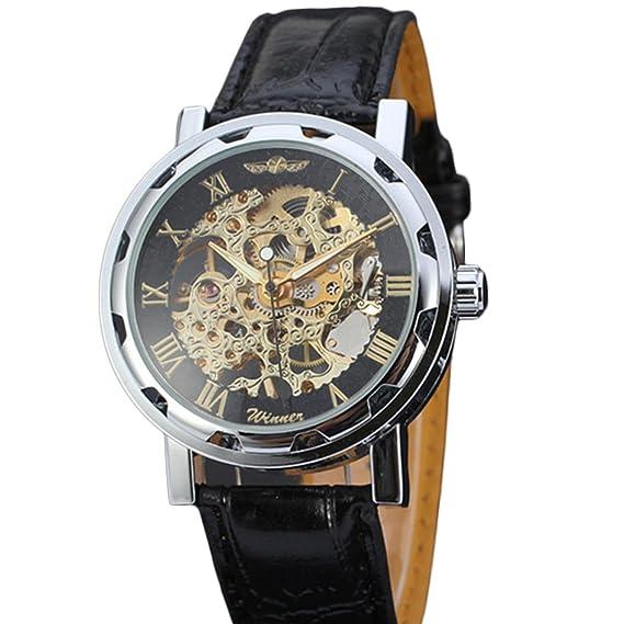Wolfbush Winner Esquelético mecánico viento de la mano del reloj de los hombres - Dial de
