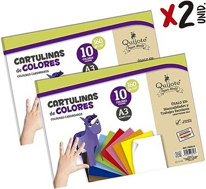 Quijote Paper World Pack 2 Blocs de Papel, Cartulinas, Hojas de Colores, Papel Manuladidades, 20 Hojas A3, 160gr/m² para Manualidades, Dibujo, Diseños, etc. 10 colores: Amazon.es: Oficina y papelería