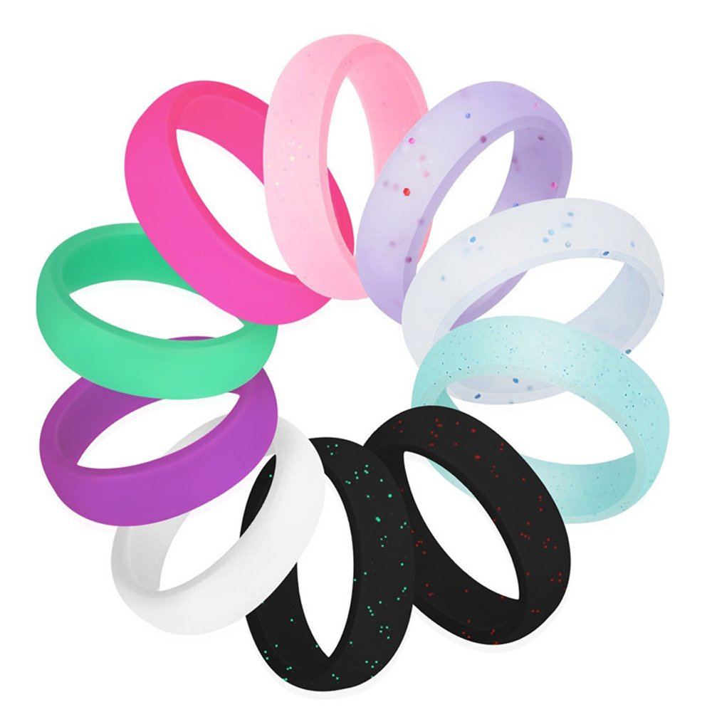 LOYOFO Multicolor Silicone Wedding Rings 10Pack Silicone Finger Ring for Men Women Size 7