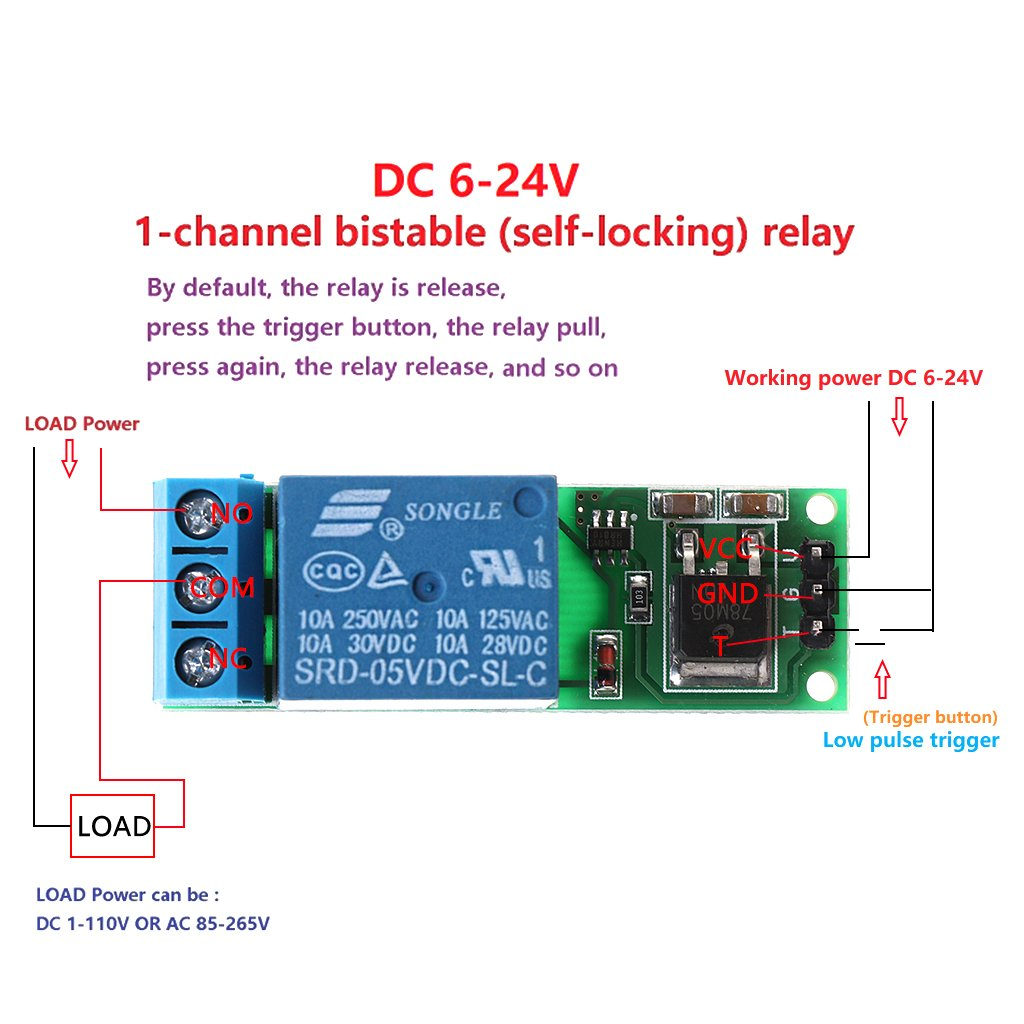 Fuxu 6 24v Flip Flop Latch Relay Bistable Self Locking Normally Open Vs Closed Low Pulse Trigger Module Home Audio Theater