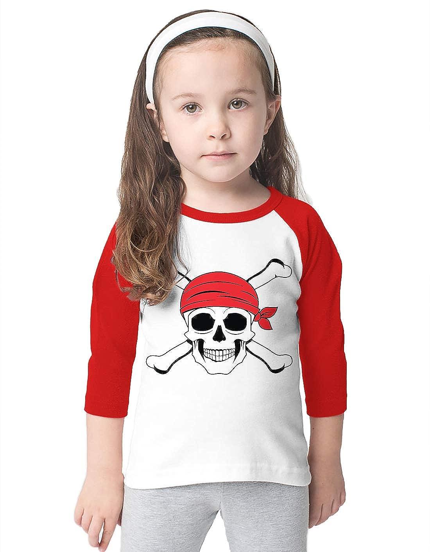 SpiritForged Apparel Jolly Roger Pirate Skull Toddler 3//4 Raglan Shirt