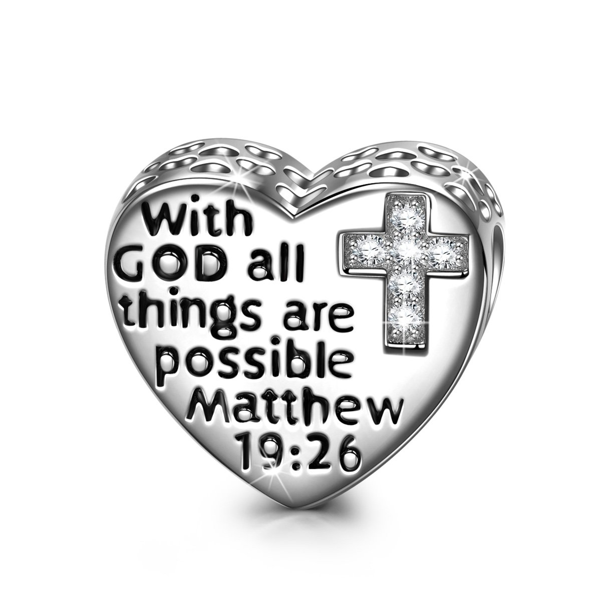 NINAQUEEN 925 Sterling Silver Charms with 5A Cubic Zirconias Engraved with With GOD All Things Are Possible Religious Cross Charm Prayer Heart Shape Bead Fit Pandöra Bracelets, Gifts for Teen Girls