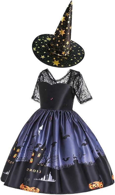 Amosfun Falda de Bruja de Halloween con Sombrero de Bruja Disfraz ...