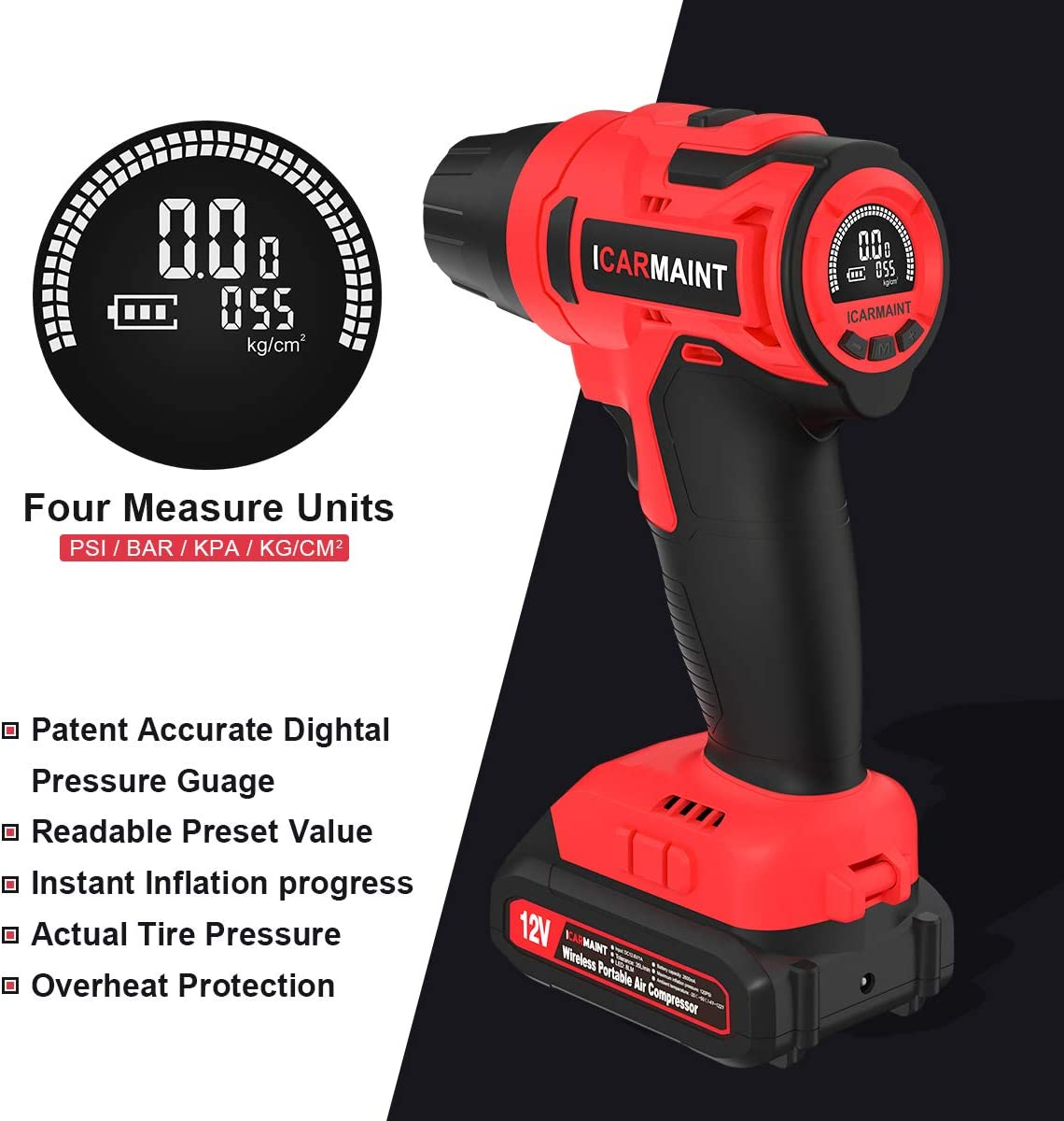 2600mAh 140PSI ICARMAINT Handheld Electric Compressor Car Tyre Inflator Electric Tyre Inflator Cordless Portable Air Compressor Rechargeable Li-ion Battery with Emergency LED Light and LCD HD Display