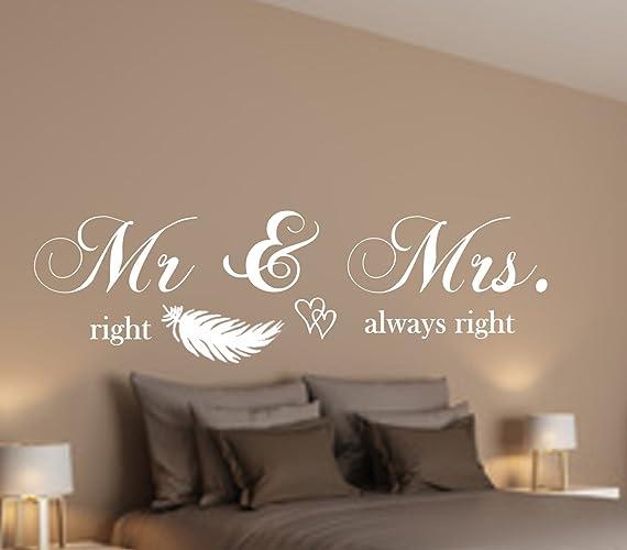 WANDTATTOO AA075 Wandschnörkel ® Mr U0026 Mrs. Right Always Right Wanddekoration  Schlafzimmer Farbe./