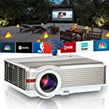 HD Wxga Wifi LCD Projector Android Home Video 1080P Support Wireless Miracast Airplay Projector LED 50000Hrs for iOS Android Smartphone, Multimedia HDMI USB VGA TV Port