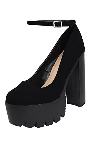 277101bd06 CUPID Iggy 14 Gothic Lolita Black Ankle Strap Platform Chunky Heels (8.5)