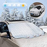 """Auklion Windshield Snow Cover, Car Front Windscreen Covers Protects from Snow Ice Frost, Magnetic Windproof Winter Windshield Cover Fits Most Cars, Trucks and SUVs (58"""" x 46"""")"""
