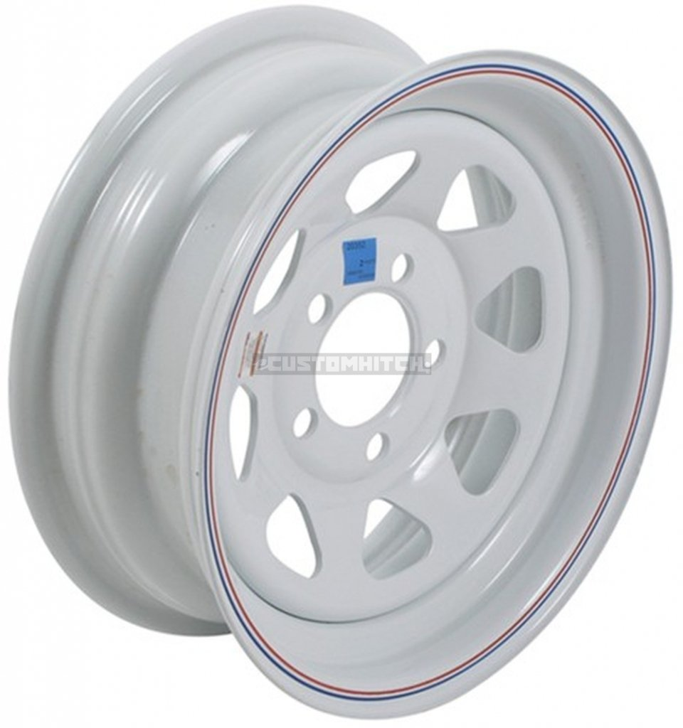 eCustomRim Trailer Wheel Rim #342 14x6 14'' 5 Bolt Hole 4.5'' OC White Steel Spoke w/Stripe