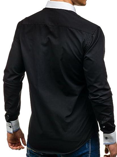 BOLF Herren Hemd Freizeithemd Langarm Slim Fit Unifarben Klassisch 2B2  Casual: Amazon.de: Bekleidung