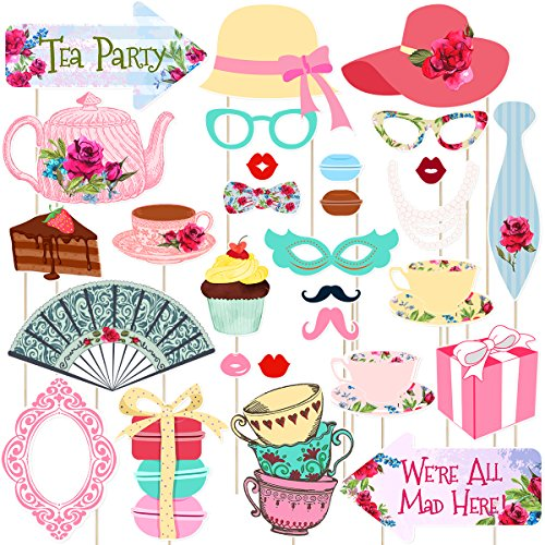 Tea Party Photo Booth Props Stick Props Tea Party Supplies Decoration Pack of 30 (Style 2)