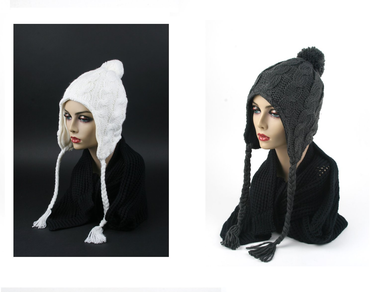 Pop Fashionwear Women's Trapper Knit Winter Ear Flap Hat P212 (2 pcs White & Charcoal)