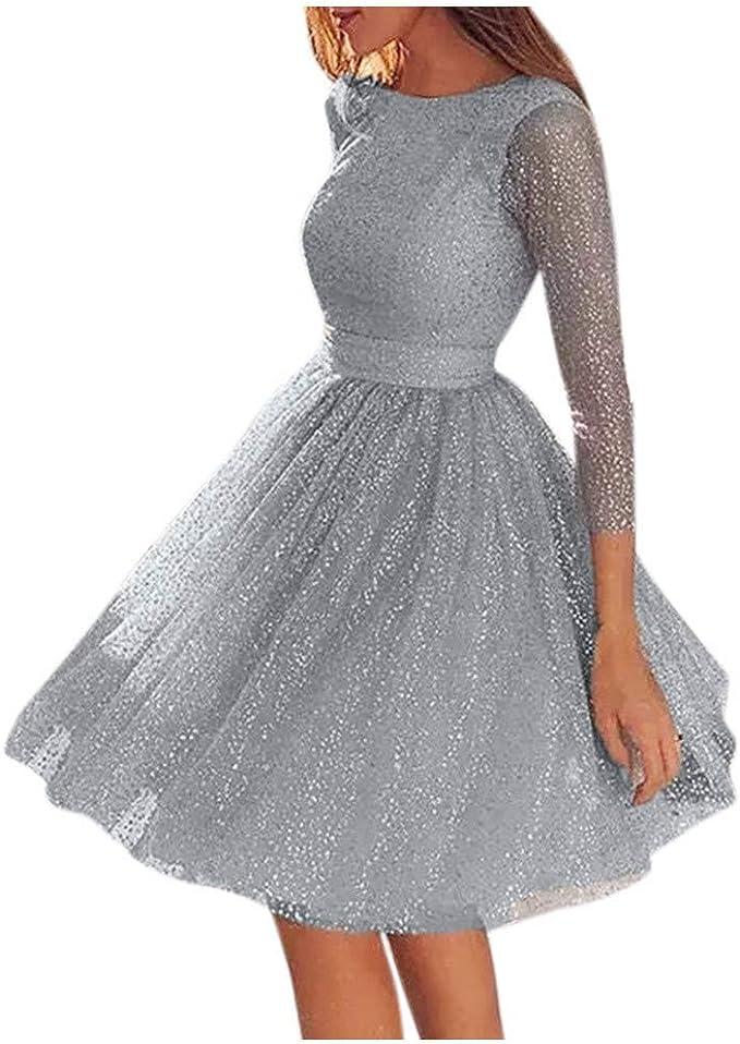 Kleider Damen Sanfashion Damen Festlich Hochzeit Kleider Glanzend Elegant Lang Abendkleider Langarm Figurbetont Cocktailkleider Maxikleider Amazon De Bekleidung