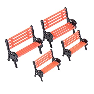 4 piezas mini sillas Parque bancos de dollhouse miniatura muebles ...