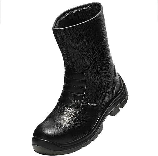 Dxyap Hombre de Piel de Botas de Seguridad, Zapatos de industria y construcción para hombre para Hombre Puntera de Acero de Seguridad Botas de Seguridad S3: Amazon.es: Zapatos y complementos
