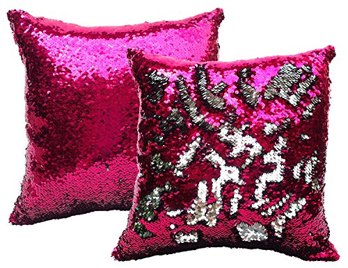 BDJ Glittering Sequin Color Changing Reversible Throw Pillow Case Cushion Cover 16 x 16 Inches Set of 2 (Fuchsia Pink - Square Target Union