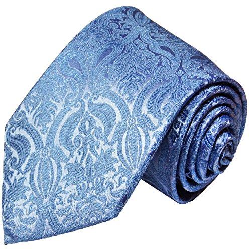 Cravate homme bleu uni paisley 100% soie