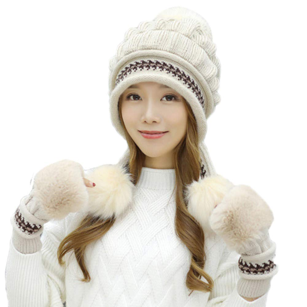 e2e149f64ec61 Women's Winter Knitted Pom Pom Beanie Hat Earflap Caps and Faux Fur Gloves  Set (Beige) at Amazon Women's Clothing store:
