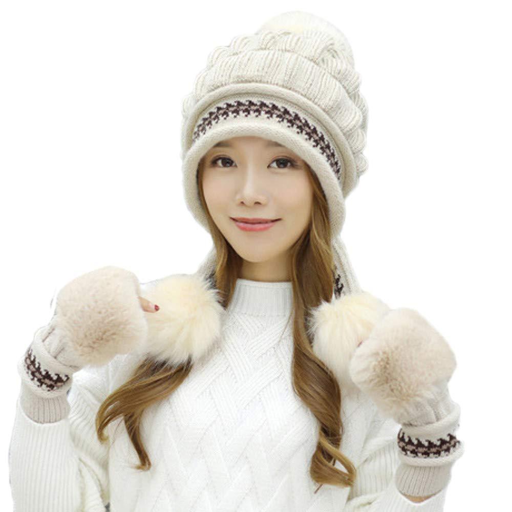 PASATO 2Pcs Women Winter Warm Knitted Venonat Beanie Hat+Gloves Keep Warm Set Solid Hat for Women Fashion(Beige,Free Size)