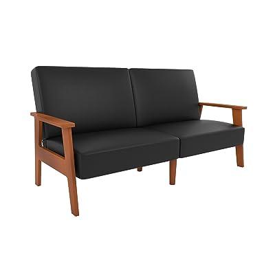 Novogratz Asher Sofa Futon with Multi-position Back in Faux Leather Upholstery, Wood Frame, Black