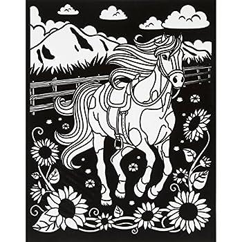 darice color in velvet poster 16 inch by 20 inch horse - Velvet Coloring Book