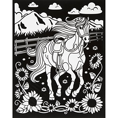 Darice Color-In Velvet Poster, Horse