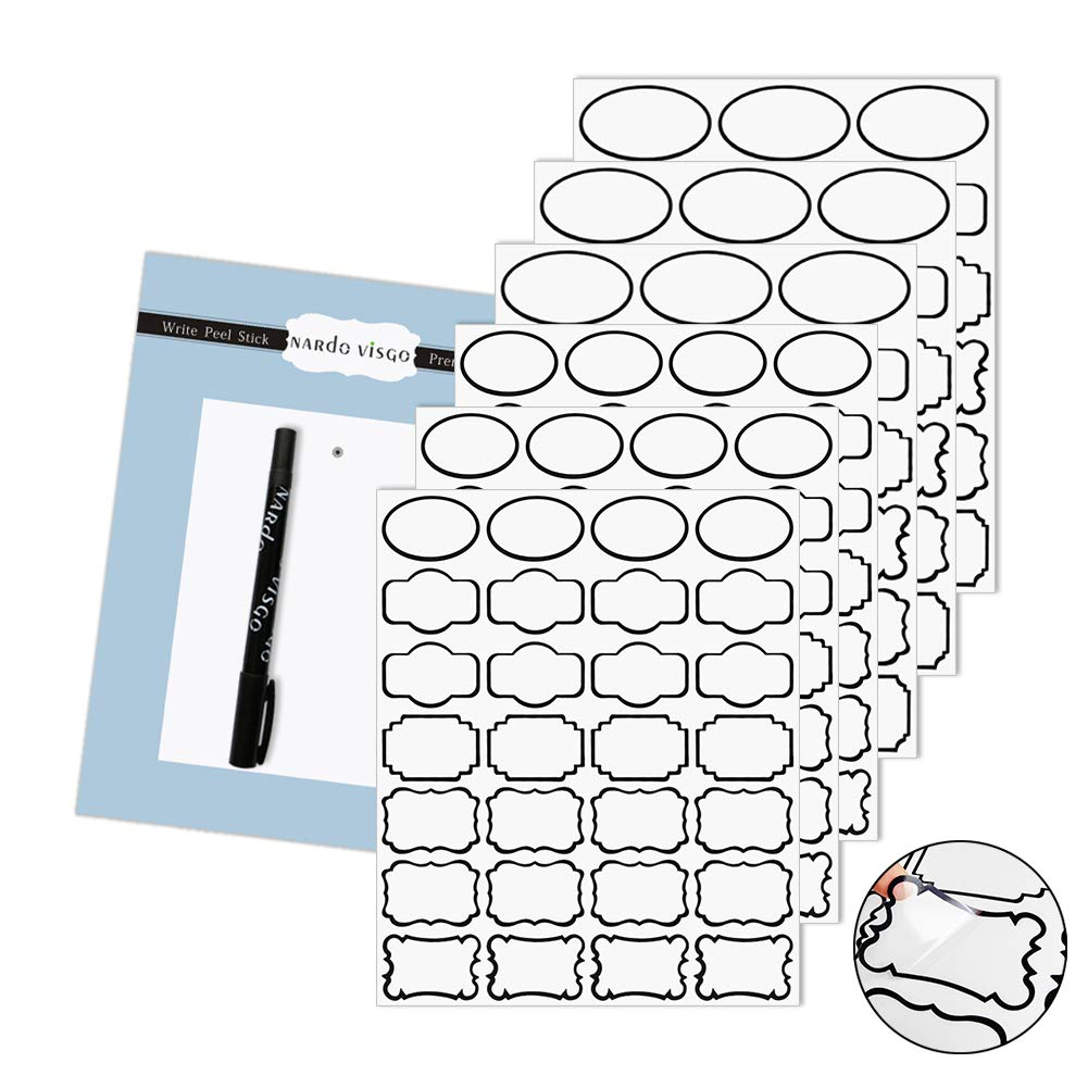 Nardo visgo transparent clear stickers labels with black borderremovable waterproof transparent jars labels in assorted sizes for jarsstorage containers